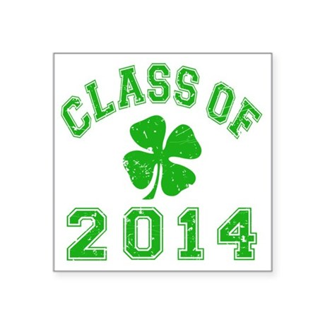 "Class Of 2014 - Shamrock LT Square Sticker 3"" x 3"""