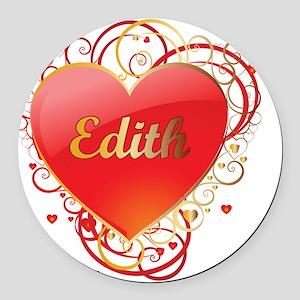 Edith-Valentines Round Car Magnet