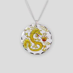 Golden Dragon Necklace Circle Charm