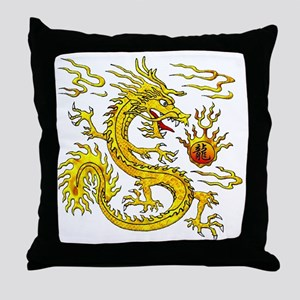 Golden Dragon Throw Pillow