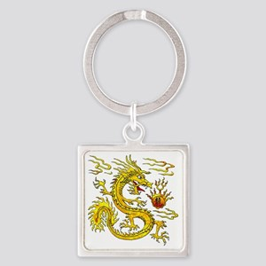 Golden Dragon Square Keychain