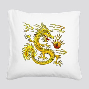 Golden Dragon Square Canvas Pillow