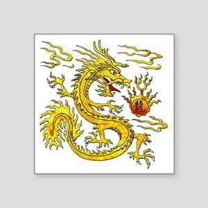 "Golden Dragon Square Sticker 3"" x 3"""