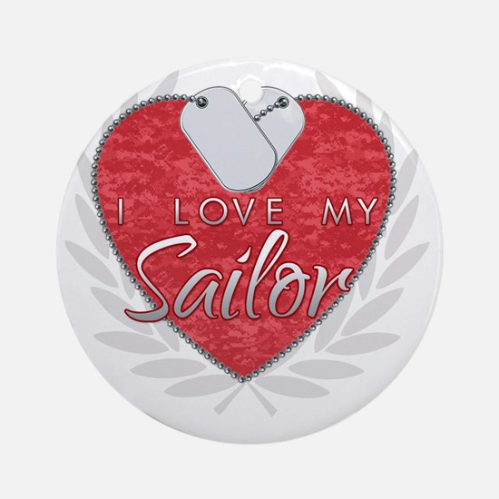 i love my sailor heart dgtags Round Ornament