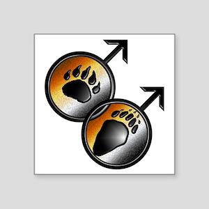 "man on man Bear pride with  Square Sticker 3"" x 3"""