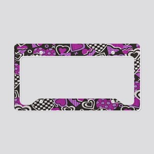 BLACK-WHITE-RED-HEARTS copy c License Plate Holder