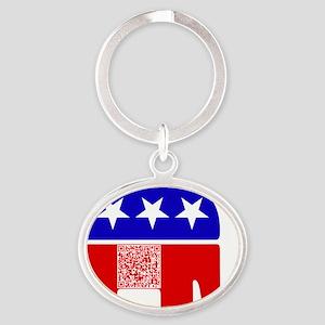 gop_gop_pledge Oval Keychain