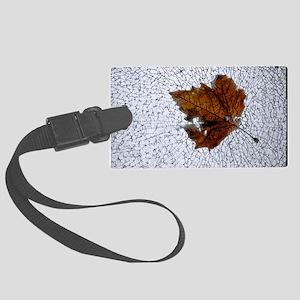 postcard leaf on glass Large Luggage Tag