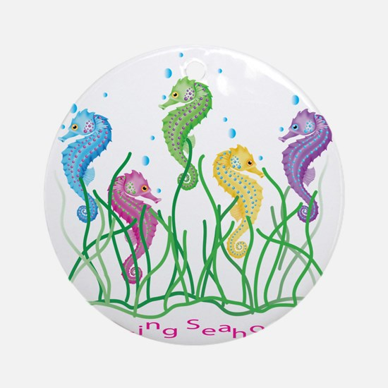 Whimsical Dancing Seahorses Design Round Ornament