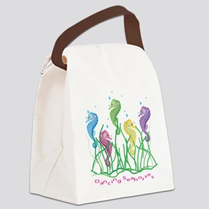 Whimsical Dancing Seahorses Desig Canvas Lunch Bag