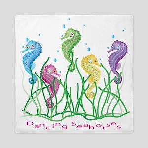 Whimsical Dancing Seahorses Design Queen Duvet