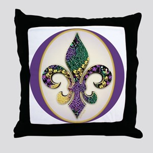 FleurMGbeads2JTr Throw Pillow