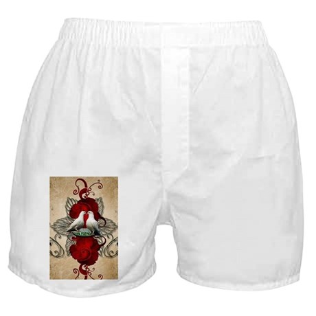 Cute dove couple with roses Boxer Shorts