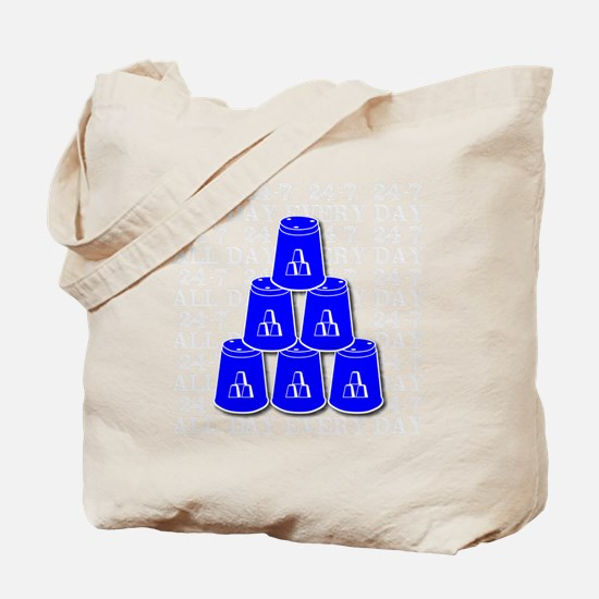 24-7 every day, white  blue2 Tote Bag