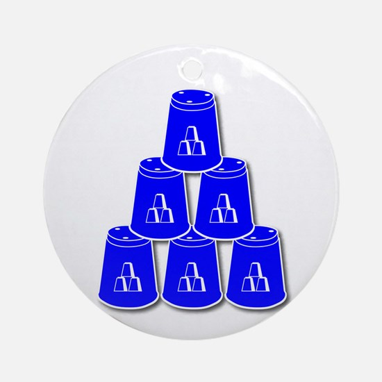 24-7 every day, white  blue2 Round Ornament