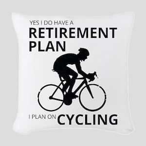 Cyclist Retirement Plan Woven Throw Pillow