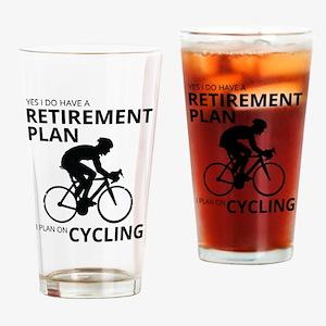 Cyclist Retirement Plan Drinking Glass