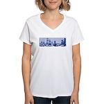 Chess: Study in Blue Women's V-Neck T-Shirt