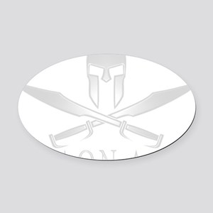 Spartan_Helmet__Swords_Crossed_Out Oval Car Magnet