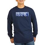 Chess: Study in Blue Long Sleeve Dark T-Shirt