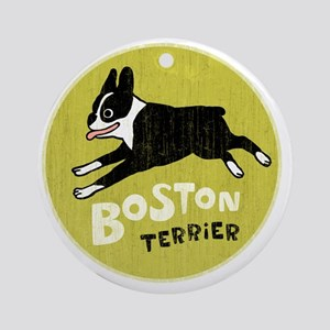 BOSTONTERRIERfordrk Round Ornament