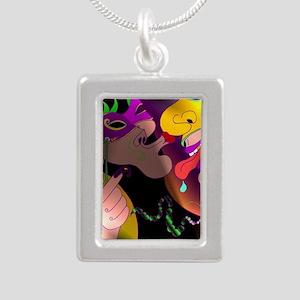 A Kiss at Mardi Gras wit Silver Portrait Necklace
