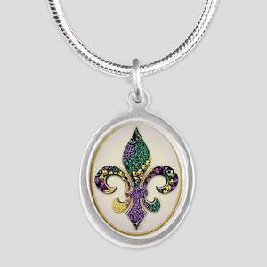 FleurMGbeads2JpPSq Silver Oval Necklace
