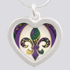 FleurMGbeads2JpPSq Silver Heart Necklace