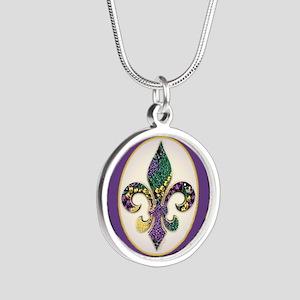 FleurMGbeads2JpPSq Silver Round Necklace