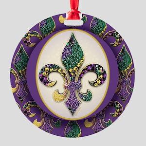 FleurMGbeads2JpPSq Round Ornament