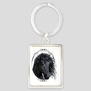 black_horse_freigestellt_gespieg Portrait Keychain