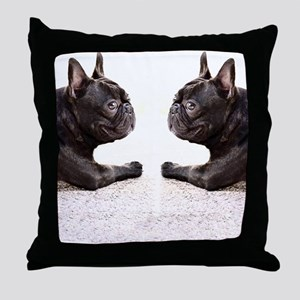 french bulldog flip flops Throw Pillow