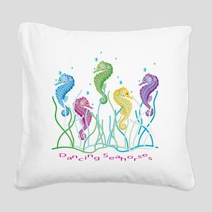Dancing Seahorses Design Square Canvas Pillow