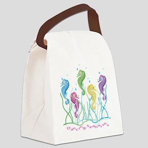 Dancing Seahorses Design Canvas Lunch Bag
