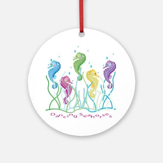 Dancing Seahorses Design Round Ornament