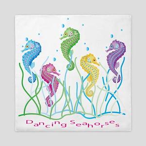 Dancing Seahorses Design Queen Duvet
