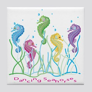 Dancing Seahorses Design Tile Coaster