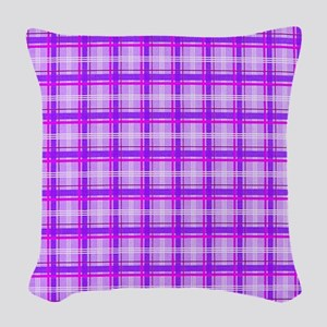 Pink Plaid copy Woven Throw Pillow