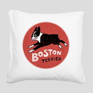 bostonredcirclehigher Square Canvas Pillow