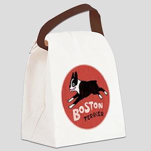 bostonredcirclehigher Canvas Lunch Bag