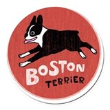 Boston terrier Round Car Magnets