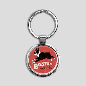 bostonredcirclehigher Round Keychain