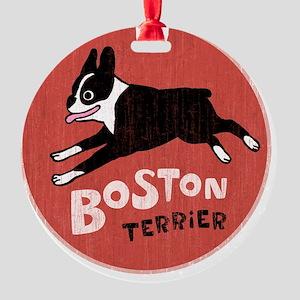 bostonredcirclehigher Round Ornament