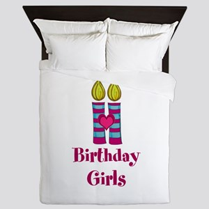 Birthday Girls Two Candles Queen Duvet