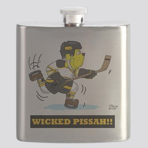 WICKED  PISSAH HOCKEY DOG BLACK AND GOLD  co Flask