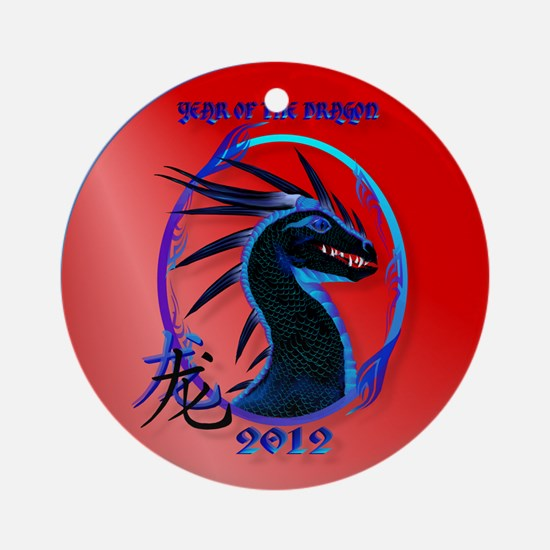circle 2012-Horned Black Dragon Round Ornament