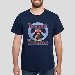 PEACE LOVE and AKITAS Dark T-Shirt
