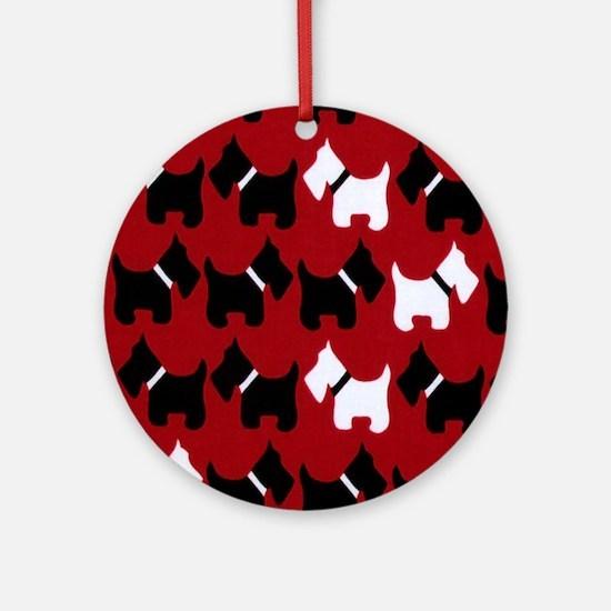 Scottie Dogs Red Round Ornament