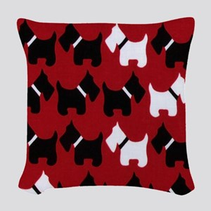 Scottie Dogs Red Woven Throw Pillow