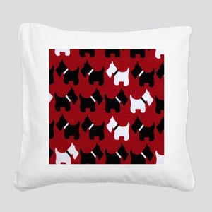 Scottie Dogs Red Square Canvas Pillow